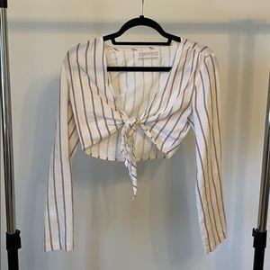 white/pink long sleeve crop | XS